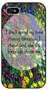 "iPhone 6 (4.7"") I don't spend my time chasing blessings. I chase God - Floral - Bible verse black plastic case / Christian Verses"