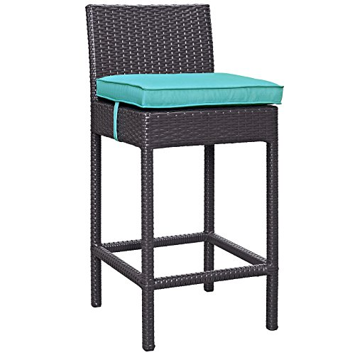 Modway Convene Wicker Rattan Outdoor Patio Bar Stool With Cushion in Espresso Turquoise