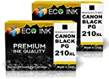 ECO INK © Compatible / Remanufactured for Canon PG-210 XL (2 Black) Ink Cartridges for PIXMA iP2700, iP2702, MP240, MP280, MP480, MP495, MP250, MP280, MP490, MP499, MP270, MX320, MX340, MX360, MX420, MX330, MX350, MX410, Office Central