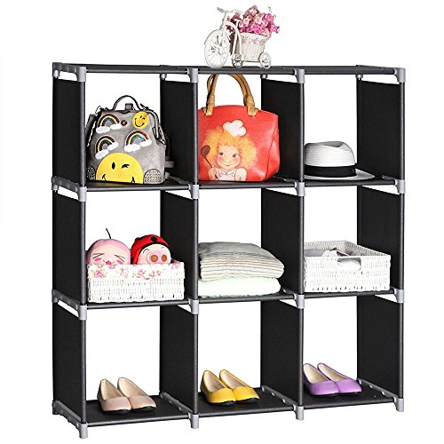 Multifunctional Assembled 3 Tier 9 Compartment Storage Cube Closet Organizer Shelf 9 Cubes Bookcase Storage Black (9 Cubes) by Lykos