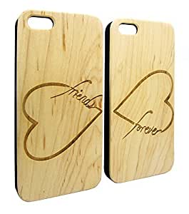 Genuine Maple Wood Organic Infinity Heart Friends Forever Snap-On Cover Hard Case Set for iPhone 4/4S