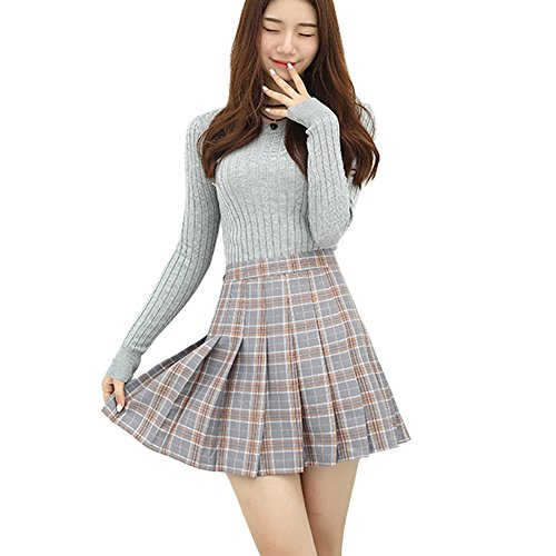 Minuoyi Sports High Waist with Underpants Tennis Badminton Cheerleader Pleated Skirt (Tag Size XS, Grey Checks)