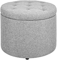 First Hill Round Ottoman with Insert Circular Shoes Stool Gray fabric