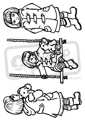 Amazon Com A6 Little Girl With Teddy Bear Unmounted Rubber Stamp