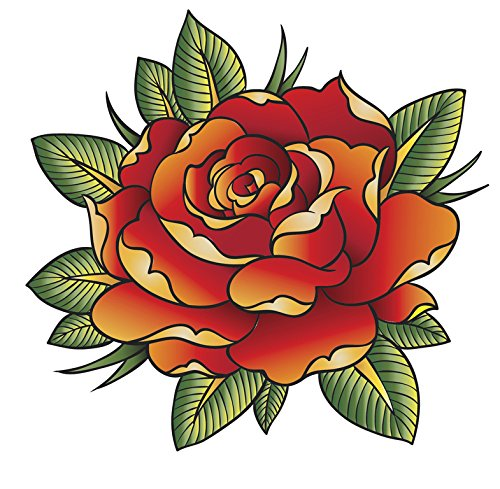Tattoo Style Red Rose Flower Vinyl Decal Sticker (4