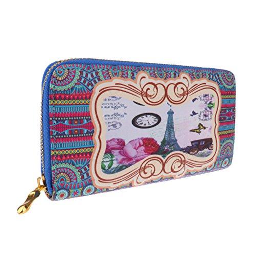 MagiDeal Vintage Damen Geldbörse Portemonnaie Geldbeutel Handytasche - Brown Girl, 19 cm Blau