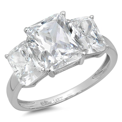 (4.0 ct Three Stone Emerald Cut CZ Solitaire Ring Engagement Wedding Bridal Band 14K White Gold, Size 7)