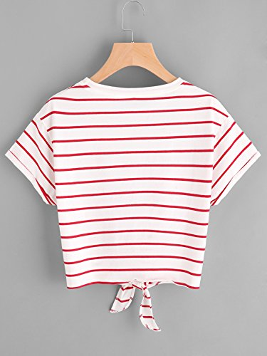 50c0db0a3fa Romwe Women's Knot Front Cuffed Sleeve Striped Crop Top Tee T-Shirt ...
