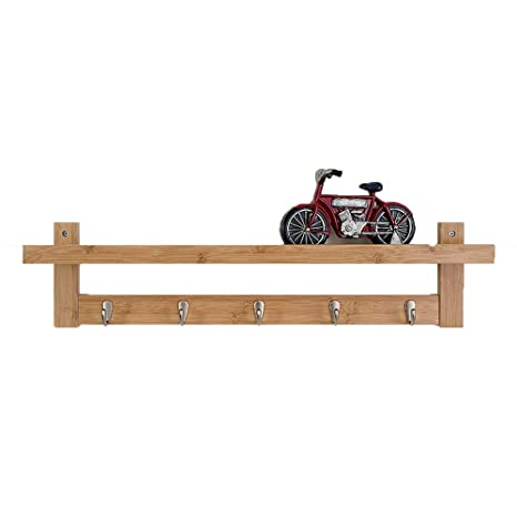 Perchero QFFL Pared Estante de Pared de Madera con Gancho de ...