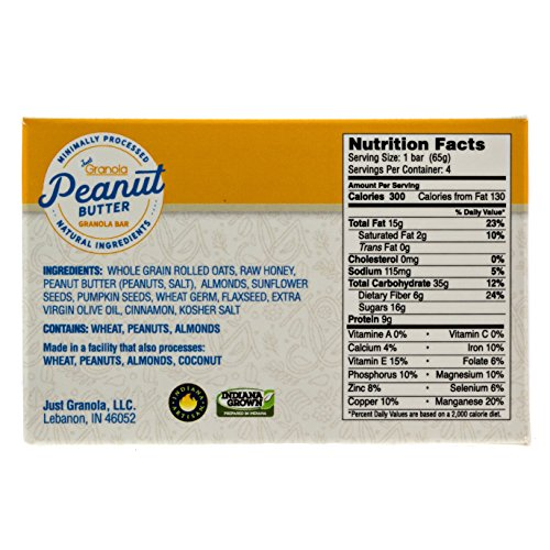 Just Granola Peanut Butter Bars (Pack of 8) - Gourmet, Natural Ingredients, Raw Honey, Prebiotics - Quick Low Calorie Breakfast, Great Lunch Item for Kids, Perfect Snack for Sporting Events - Chewy by Just Granola (Image #5)