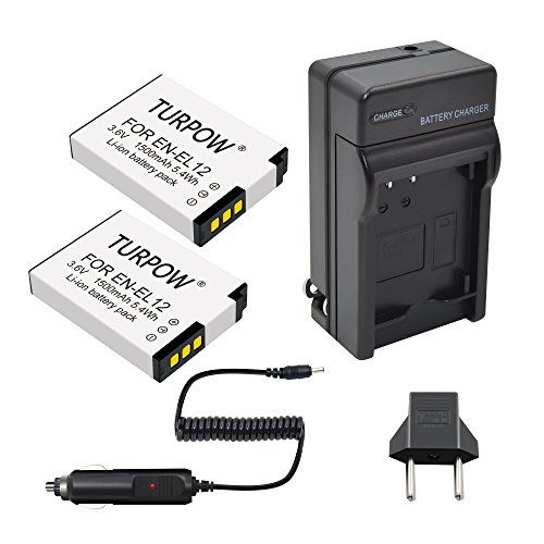 Turpow 2 Pack Replacement Battery, Charger Compatible with Nikon EN-EL12 for Nikon Coolpix A900 AW100 AW110 AW120 AW130 S31 S800C S6100 S6200 S6300 S8100 S8200 S9050 S9100 S9200 S9300 S9400 - Nikon Coolpix Battery S8000
