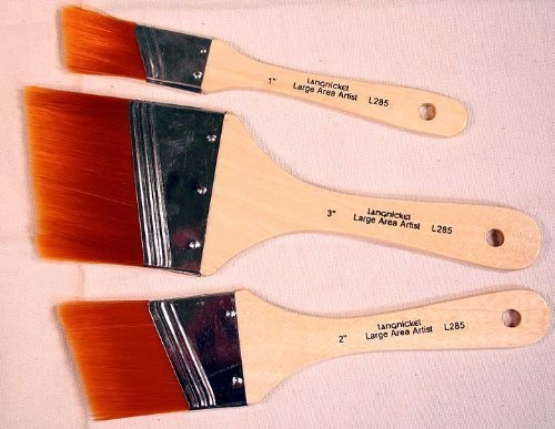 Angular Artist Brush Set - 3 Large Area Gold Taklon Angular Paint Brushes -Great for Acrylics, Stains & More