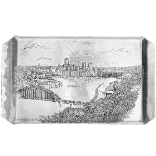 Serving Pewter Pieces (Wendell August Pittsburgh Cityscape Hostess Tray)