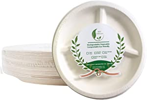 Dinner Plates 9'' Round 3 Compartment Food Tray Plate, Disposable Dish Bagasse Biodegradable Sugarcane Fiber Dinnerware 50 PCS