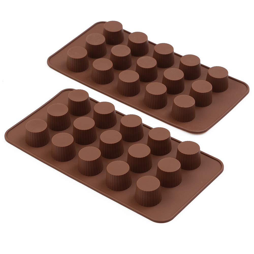 HomEdge Molde de chocolate de 15 cavidades, juego de 4 unidades, molde de silicona antiadherente de grado alimenticio para bomba, chocolate, mantequilla de ...