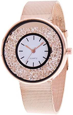AmazingDays Luxury Ladies Watch with Stainless Steel Mesh Band Quartz Watch Men's Leather Strap Korean