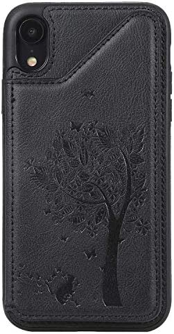 iPhone XR ケース, OMATENTI PUレザー 薄型 簡約風 人気 新品 バックケース iPhone XR 用 Case Cover, 財布カード収納 とコインポケット付き, 黒