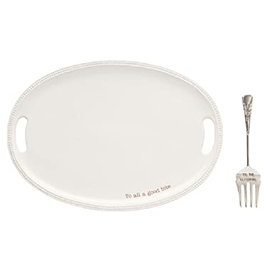 Mud Pie 40700009 To All a Good Bite Serving Platter Set One Size White