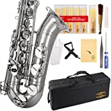 Glory Nickel Silver B Flat Tenor Saxophone with Case,10pc Reeds,Mouth Piece,Screw Driver,Nipper. A pair of gloves, Soft Cleaning Cloth.