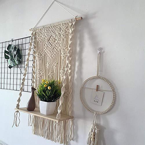 Macrame Wall Hanging Shelf Bohemian Wall Decor Macrame Shelf Handmade Cotton Wood Hanging Shelf Organizer Hanger Bohemian Wall Decor Bohoboho Shelves (#4)