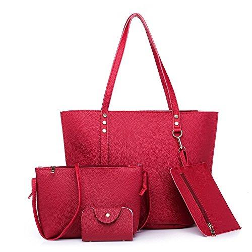 AASSDDFF Nuevo Bolso de las mujeres Bolso de mano grande de gran capacidad Bolso de hombro de moda Bolso de mujer Pu Bolso Crossbody Set,gris rojo