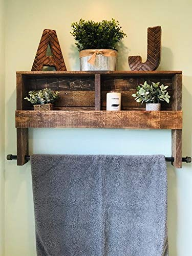 Farmhouse 32'' Rustic Towel Rack with Built in shelving