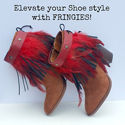 Handmade Leather Fringe and Feather Ankle Boot and Shoe Cuff Accessory in Red from WIYANNA Leather