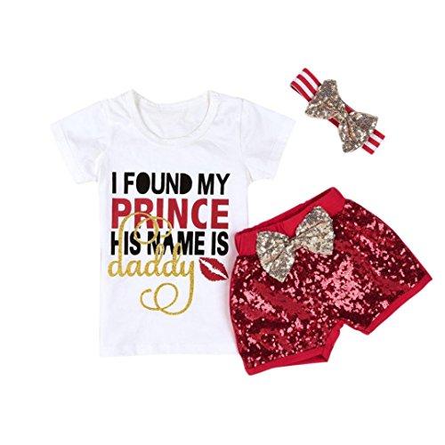 Goodlock Infant Kids Fashion Clothes Set Baby Kids Girls Letter Print Tops T-Shirt Sequins Shorts Outfits Set 3Pcs (Size:3T) (Leggings Print Sequin)