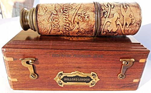 16-inch-brass-ship-telescope-leather-carving-bounded-with-rose-wood-box-c-3102