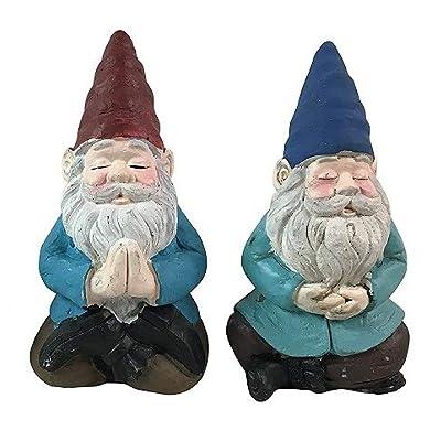 Meditating Yoga Garden Gnomes- 2 Statues : Garden & Outdoor