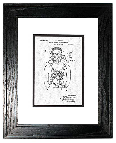 "Breathing Apparatus for Use Under Water Patent Art Gunmetal Print in a Black Pine Wood Frame with a Double Mat (8"" x 10"") M14254"
