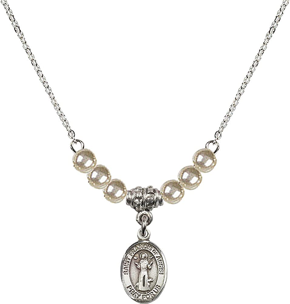18-Inch Rhodium Plated Necklace with 4mm Faux-Pearl Beads and Sterling Silver Saint Francis of Assisi Charm.