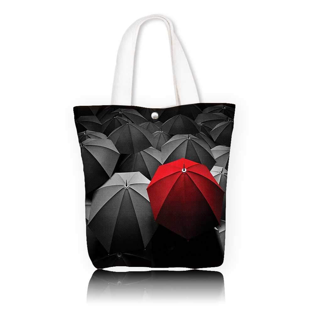 キャンバス ビーチバッグ - W11 x H11 x D3 インチ/ショッピングトラベルトートバッグ 赤と黒の幸せ 悲しみのシンボル アート 雨 嵐 日 傘 写真 チャコールグレーとルビー W14 x H15.7 x D4.7 INCH W14 x H15.7 x D4.7 INCH カラー1 B07K1Y4PCG