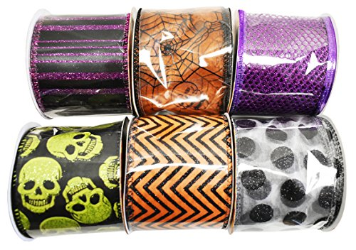 Set of 6 Halloween Wired Ribbon Rolls! 3 Yards of Ribbon Per Roll! Spooky Halloween Decorations Perfect for Classrooms, Schools, Parties and More! (6, Set 2)