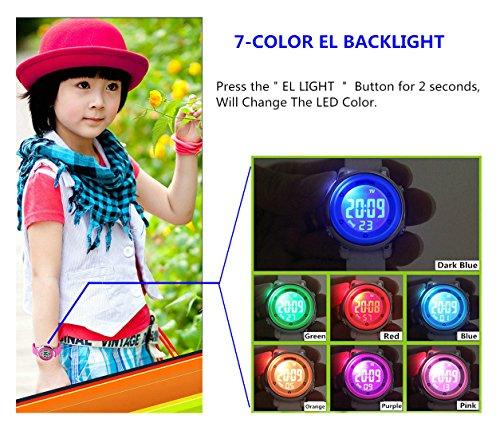 WUTONYU(TM) Children Digital Watch Kids Boy Girls LED Alarm Stopwatch Waterproof Wristwatches(Black) by WUTONYU (Image #3)