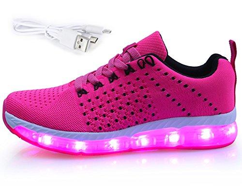 GNEDIAE Chaussures Unisexes, Chaussures de Couple, Chaussures de Chargement USB, Chaussures d'éclairage, Chaussures de Marche B1710 Rose