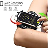 IRUNME Sports Running Armband for iPhone XS/XS Max/XR/X/8/8 Plus/7 Plus/7/6S,Samsung Galaxy Note 9/S9/S9 Plus/S8/S7/S6 Edge&Other 4''-6.5''Phone,360 Rotable Phone armband with Key Holder (Black)