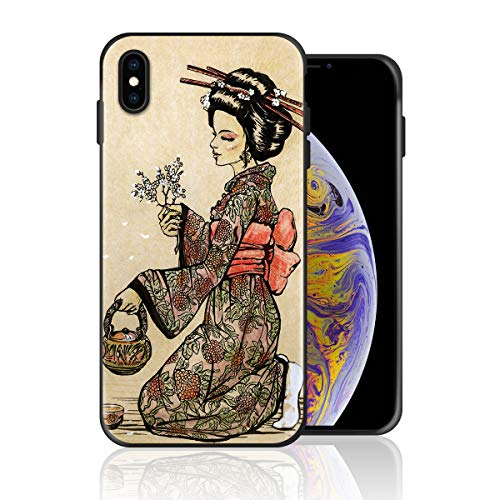 Silicone Case for iPhone 8 Plus and iPhone 7 Plus, Japanese Style Painting Geisha is Making Tea Design Printed Phone Case Full Body Protection Shockproof Anti-Scratch Drop Protection Cover]()