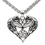 GuoShuang Men Celtic Spirit Amulet Couple Wolf Heart Pendant Necklace