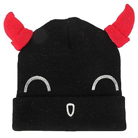 Muxika Unisex Baby Thick Winter Warm Horn Hat Cute Smiley Face Crochet Knit Hat (Black) - Smiley Black Cap