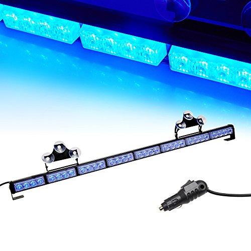 V-SEK LED Hazard Emergency Warning Tow Traffic Advisor Flash Strobe Light Bar with Cigar Lighter and Suction Cups (35.5, Blue)