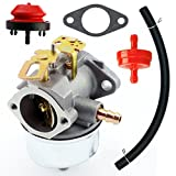 Yingshop Carburetor With Gasket Fuel Filte Line for Tecumseh 632110 632111 632334 632370 632536 640105 632334A 632370A 7hp 8hp 9hp HM70 HM80 HMSK80 HMSK90 HM100 HMSK100 Engines Snowblower Chipper Shredder Adjustable Carb