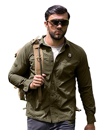 FREE SOLDIER Outdoor Men Long Sleeve Polo T-Shirt Cordura Fabric Quick-drying Shirt (Green, XXL)