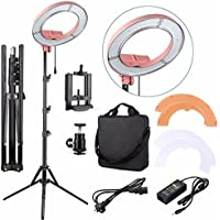 EACHSHOT ES180 Kit, Including Light, Stand, Phone Clamp, Tripod Head 180 LED 13 Stepless Adjustable Ring Light Camera Photo/Video Portrait photography 180pcs LED 5500K Dimmable -Pink
