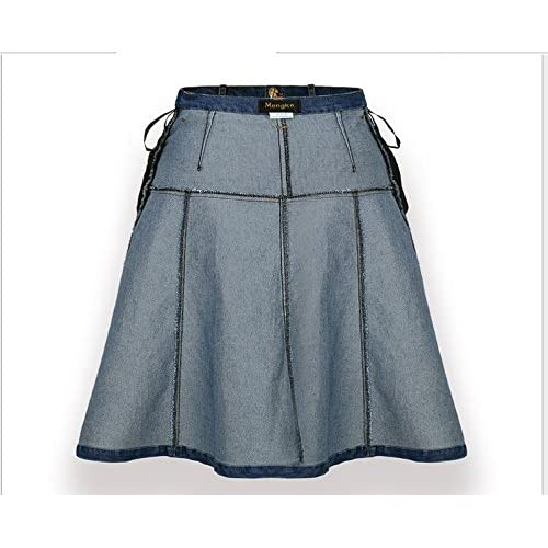 chic Lingswallow Women Junior High Waist A Line Casual Blue ...