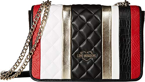 LOVE Moschino Women's Fashion Stripes Quilted Shoulder Bag White/Black/Gold/Red One Size (Shoulder Leather Bag Link Chain Black)