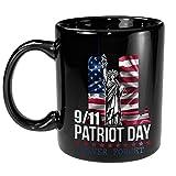 Never Forget Twin Towers American Flag September 11th Memorial Day Black Ceramic 11oz Coffee Tea mug
