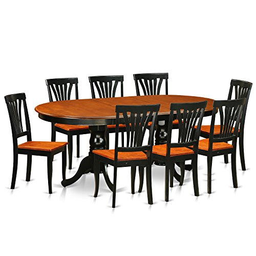 East West Furniture PLAV9-BCH-W 9 Piece Dining Table with 8 Solid Chairs Set