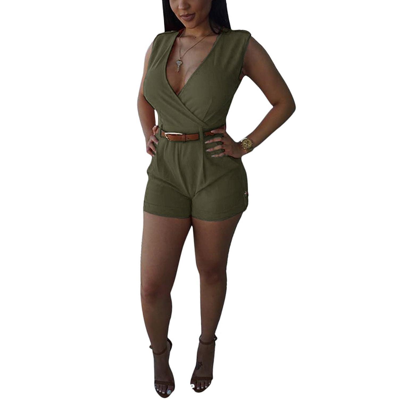 Women's Sexy Deep V Neck Sleeveless High Waist Stretch Bodycon Short Pants Jumpsuits Playsuits