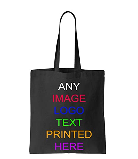 Personalised tote bag custom black photo logo print birthday hen party wedding